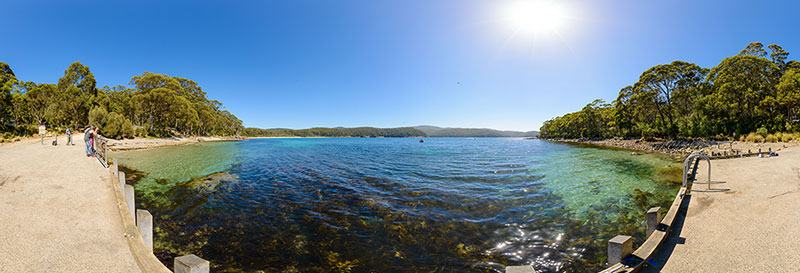 360 panorama of Fortescue Bay near the boat ramp