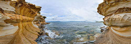 360 panorama of Painted Cliffs, Maria Island
