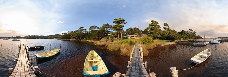 360 panorama of Strahan dinghies